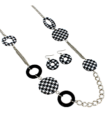 "36"" Houndstooth and Black Circle Necklace and Earring Set #JS3193-RBW"