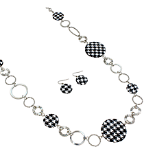 "36"" Houndstooth and Silvertone Circle Necklace and Earring Set #JS3194-RBW"