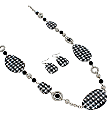 "36"" Houndstooth and Silvertone Beaded Circle Necklace and Earring Set #JS3195-RBW"