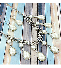 "20"" Pearl and Silvertone Teardrop Bubble Necklace and Earrings Set #JS4631-RPR"