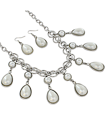 "20"" Pearl and Goldtone Teardrop Bubble Necklace and Earrings Set #JS4631-RPR"