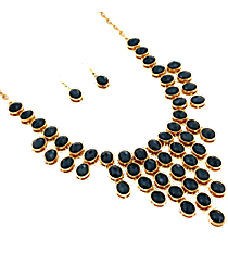 "18"" Midnight Faceted Bead Bib Necklace and Earring Set #JS4814-GBK"
