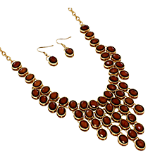 "18"" Brown Faceted Bead Bib Necklace and Earring Set #JS4814-GBR"