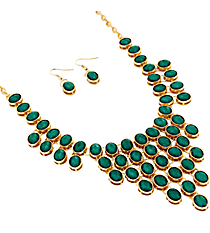 "18"" Green Faceted Bead Bib Necklace and Earring Set #JS4814-GGR"