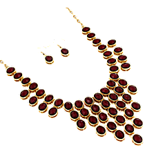 "18"" Wine Faceted Bead Bib Necklace and Earring Set #JS4814-GWI"