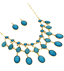"17"" Aqua Faceted Bead Necklace and Earring Set #JS4815-GAQ"