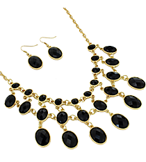 "17"" Black Faceted Bead Necklace and Earring Set #JS4815-GBK"
