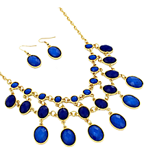 "17"" Blue Faceted Bead Necklace and Earring Set #JS4815-GBL"