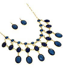 "17"" Navy Faceted Bead Necklace and Earring Set #JS4815-GNA"