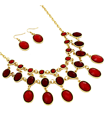 "17"" Red Faceted Bead Necklace and Earring Set #JS4815-GRD"