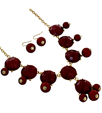 "19"" Red Pearlized Bubble Necklace and Earrings Set #JS4984-GRD"