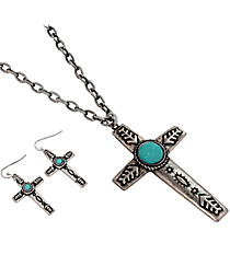 "18"" Western Turquoise Bead Cross Necklace and Earring Set #JS5273-SBTQ"
