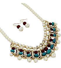 "17"" Pearl and Turquoise Stone Bib Necklace and Earring Set #JS5381-GRPTQ"