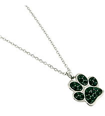 "17"" Emerald Crystal Paw Print Necklace #QN1190-EME"
