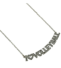 "18"" Crystal Accented ""I Love Volleyball"" Necklace #QN1255-RH"