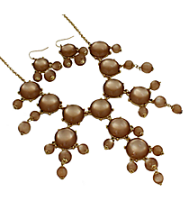 "26"" Goldtone and Translucent Brown Bubble Necklace and Earring Set #AS4560-GB5"