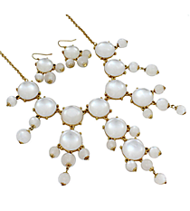 "26"" Goldtone and Translucent White Bubble Necklace and Earring Set #AS4560-GW2"