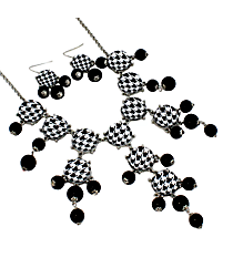 "26"" Silvertone and Houndstooth Bubble Necklace and Earring Set #AS4770-RHJ2"
