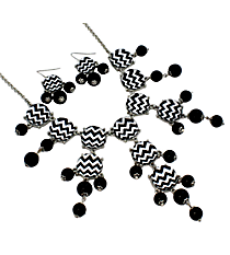 "26"" Silvertone and Black Chevron Bubble Necklace and Earring Set #AS4770-RHJ3"