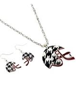 "17"" Houndstooth and Crimson Helmet Necklace #QNE2157-RH"
