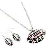 """17"""" Houndstooth and Crimson Football Necklace #QNE2158-RH"""