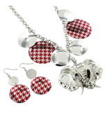 "17"" Red Houndstooth Disk Elephant Necklace and Earring Set #UNE50103-RED"