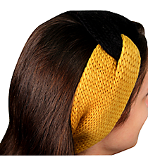 Black and Gold Knotted Knit Headband #NH0004-BKGD