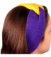 Purple and Gold Knotted Knit Headband #NH0004-PUYE