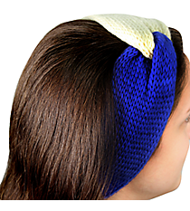 Royal Blue and White Knotted Knit Headband #NH0004-WTBL
