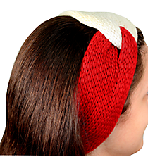 Red and White Knotted Knit Headband #NH0004-WTRD