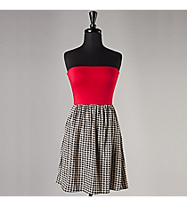 Strapless Red and Houndstooth Dress #NKD705001-ST3-R *Choose Your Size