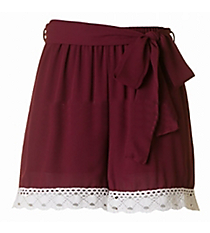 Kickoff Ready Crochet Trimmed Shorts, Burgundy and White #NKP3007-ST96E *Choose Your Size