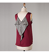 Burgundy Sleeveless Top with Houndstooth Bow #NKT5016-ST-S30 *Choose Your Size