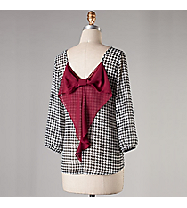 Houndstooth 3/4 Sleeve Top with Bow #NKT5028-ST-S30 *Choose Your Size