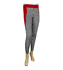 Sideline Stripe Colorblock Leggings, Houndstooth and Burgundy #NL0002-BKWI