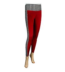 Sideline Stripe Colorblock Leggings, Houndstooth and Crimson #NL0003-BKWI