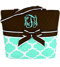 Aqua Moroccan Geometric Quilted Diaper Bag with Brown Trim #NPA2121-BROWN