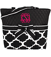 Moroccan Geometric Quilted Diaper Bag with Black Trim #NPB2121-BLACK