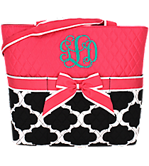 Moroccan Geometric Quilted Diaper Bag with Hot Pink Trim #NPB2121-H/PINK