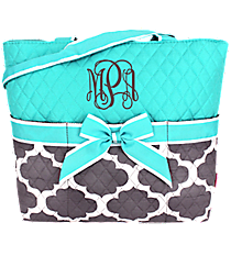 Gray Moroccan Geometric Quilted Diaper Bag with Aqua Trim #NPG2121-AQUA