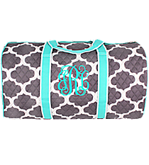 "21"" Gray Moroccan Geometric Quilted Duffle Bag with Aqua Trim #NPG2626-AQUA"