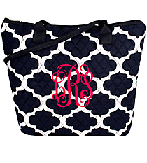 Navy Moroccan Geometric Quilted Shoulder Bag #NPN1515-NAVY