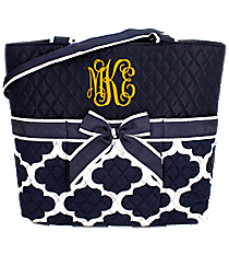 Navy Moroccan Geometric Quilted Diaper Bag #NPN2121-NAVY