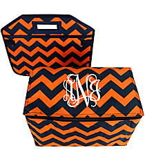 Navy and Orange Chevron Utility Storage Tote with Insulated Bag #NRQ516-NAVY/OR