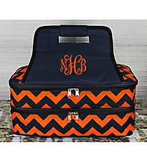 Navy and Orange Chevron Insulated Double Casserole Tote #NRQ391-NAVY/OR
