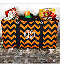 Navy and Orange Chevron Collapsible Haul-It-All Utility Basket #NRQ401-NAVY/ORANGE
