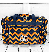 "Navy and Orange Chevron Duffle Bag 20"" #NRQ420-NAVY/OR"