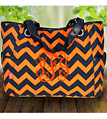 Navy and Orange Chevron Wide Tote #NRQ616-NAVY/OR