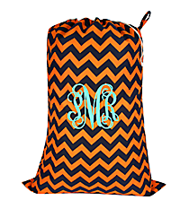 Navy and Orange Chevron Laundry Bag #NRQ686-NAVY/OR