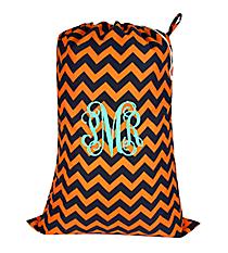 Navy and Orange Chevron Laundry Bag #NRQ686-NAVY/OR